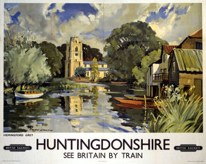 Hemingford Grey, Huntingdonshire, BR poster, c 1950s.