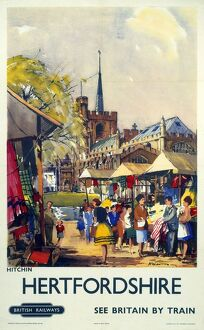 'Hitchin, Hertfordshire - See Britain by Train', BR (ER) poster, c 1955-1965.