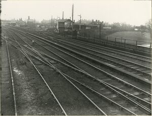 Huntingdon station, taken looking North West from West side of Great Northern Railway