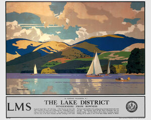 'The Lake District - Windermere from Bowness', LMS poster, 1923-1947.