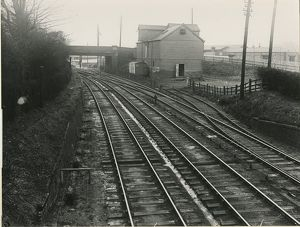 Looking south from Bishop's Stortford station, with the granary siding on right