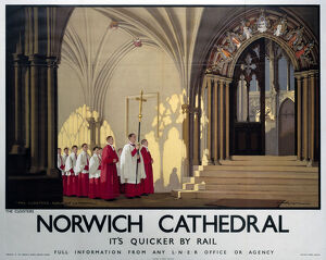 Norwich Cathedral, LNER poster, 1923-1947.