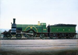 Painted photograph by F Moore showing a 4-2-2 steam locomotive of the Great Northern Railway