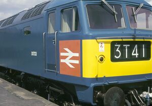Photograph of a British Railways diesel locomotive, taken during the British Transport