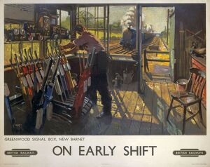 Poster produced for British Railways (BR), showing a railway worker manually operating