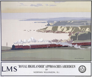 Poster produced for London, Midland & Scottish Railway (LMSR) promoting train services
