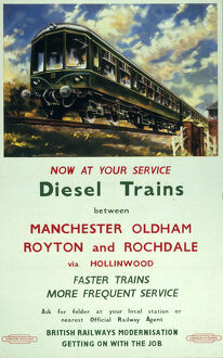 'Now at you service - Diesel trains...', BR (LMR) poster, 1950.