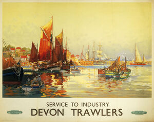 'Service to Industry - Devon Trawlers', BR (WR) poster, c 1950.