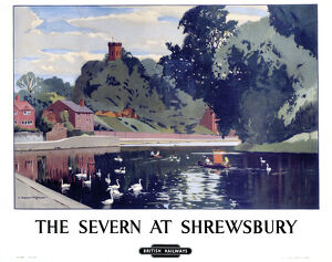 'The Severn at Shrewsbury', BR poster, c 1950s.