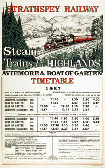 Strathspey Railway Company poster. 'Steam i
