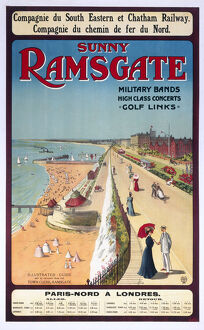 'Sunny Ramsgate', South Eastern & Chatham Railway poster, 1908.