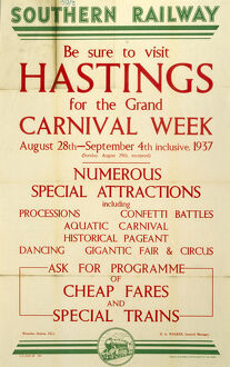 'Be Sure to Visit Hastings', SR poster, 1937.