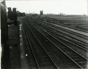 View looking North from Ely Dock Junction box. Line to extreme right to Ely dock