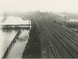 View looking North West towards St Ives station, with the Huntingdon branch to left