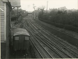 View north from Bishop's Stortford station. Granary on the left; Great Eastern
