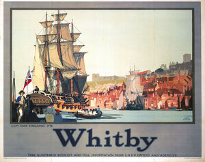 'Whitby: Captain Cook Embarking', LNER poster, 1928.