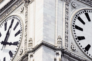 Close-up of a clock tower, Wrigley Building, Chicago, Illinois, USA