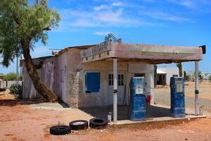 Abandoned Gas Station in Arizona Desert