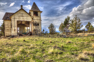 An abandoned schoolhouse in Oregon