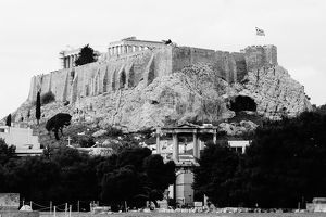 Acropolis, Pantheon and Arch of Hadrian in Black and White, Athens, Greece