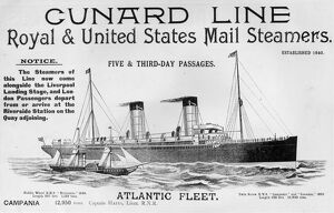 Advertisement for the Cunard liner R.M.S. Campania