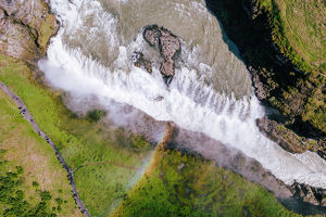 Aerial drone view of famous Gullfoss waterfall, Iceland