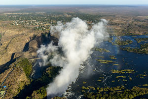 Aerial view of Zambezi River Batoka Gorge and Victoria Falls. Livingstone. Zambia