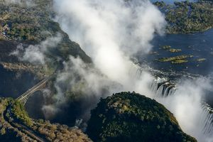 Aerial view of Zambezi River and Victoria Falls. Livingstone. Zambia