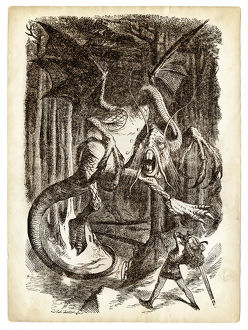 Alice and the Jabberwocky Knight engraving 1899