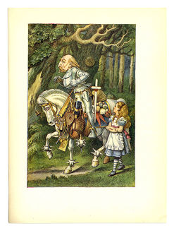 Alice with knight and horse illustration, (Alice's Adventures in Wonderland)