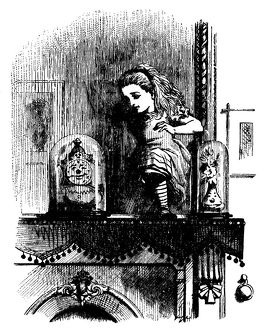 Alice on the mantlepiece illustration, (Alice's Adventures in Wonderland)