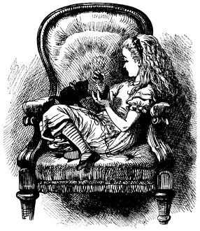 Alice playing with kitten illustration, (Alice's Adventures in Wonderland)