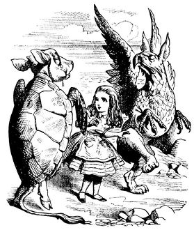 Alice, Turtle and Gryphon illustration, (Alice's Adventures in Wonderland)
