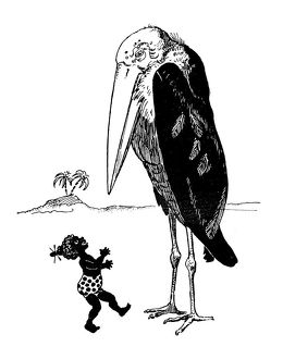 Antique children's book comic illustration: little girl with giant bird