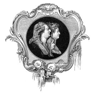 Antique illustration of Louis XV, Marie Antoinette