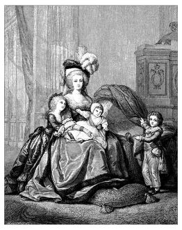 Antique illustration of Marie Antoinette and children