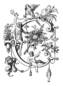 Antique illustration of ornate capital letter C