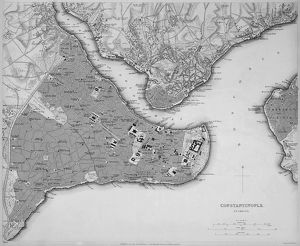 Antique map of Constantinople , present day Istanbul
