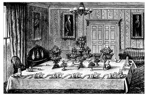 Antique recipes book engraving illustration: Dinner table