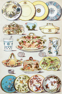 Antique recipes book engraving illustration: Crockery