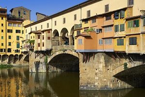 The medieval Ponte Vecchio bridge crossing the River Arno in the historic centre of Florence