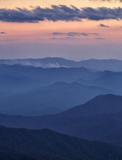 Autumn sunset from Clingmans Dome, Appalachian Mountains, Great Smoky Mountains National Park