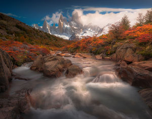 travel imagery/travel photographer collections coolbiere landscapes/autumn view cascade patagonia mount fitzroy