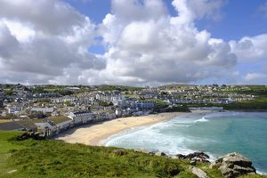Porthmeor Beach, View from The Island, St Ives, Cornwall, England, Great Britain