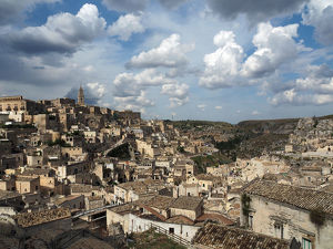 Beautiful Clouds Over The City Of Matera, UNESCO World Heritage Site, Southern Italy