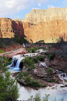 River pouring over Havasu Falls, Grand Canyon, United States