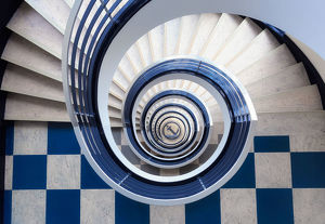 Blue spiral staircase from above