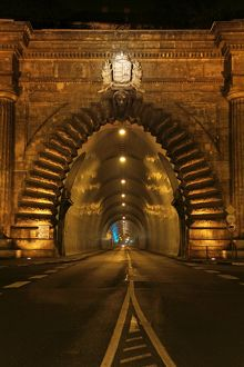 Buda castle tunnel at night