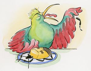 Cartoon of dead Shield bug on plate and chicken grimacing as it spits out a leg of