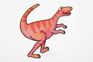 Cartoon depicting of dinosaur smiling and walking with upturned tail, side view